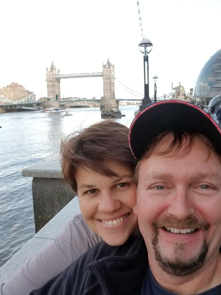 Cristy and Clem with the Tower Bridge in London