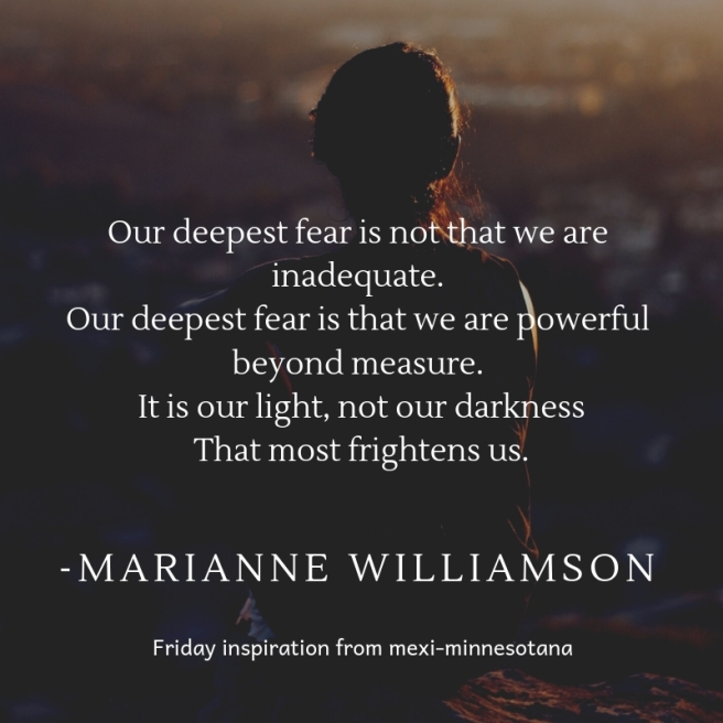 our deepest fear is not that we are inadequate. our deepest fear is that we are powerful beyond measure. it is our light, not our darkness that most frightens us.ence having fun.