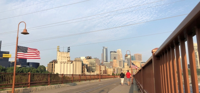 Flag at Stone Arch bridge